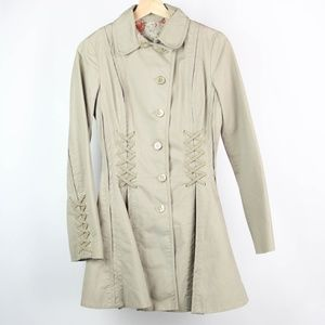 Top Shop Coat Trenchcoat Laced Slimming Size 4 Tan